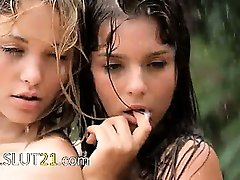 Beautiful babysitters in the rain