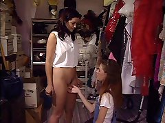 Sweet young brunette fucked by girl
