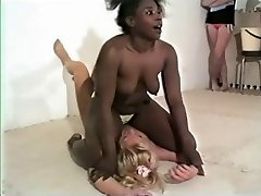 Wrestling - Black girl dominates white girl