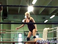 Pussylicked babe enjoys naked wrestling