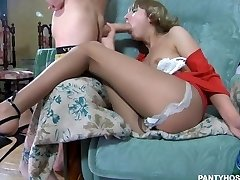 Drunk russian thin teenager in pantyhose