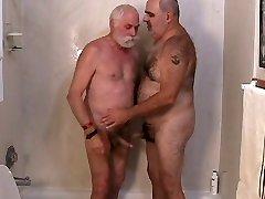 Two mature men masturbation