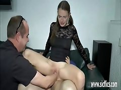 Teen lady double fist and cock penetration