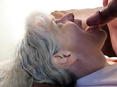 Grey haired granny blowjob and jizz in her gullet