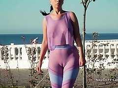 My new transparent exercise clothing... Check my camel toe out