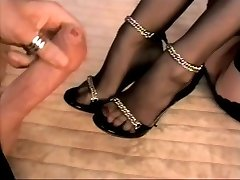 Stocking footjob with cum on soles and heels