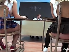 Two ultra-kinky schoolgirls have fun with their teacher