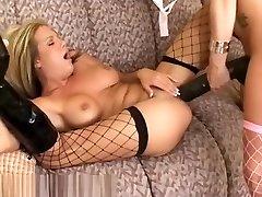 Taylor brutally fucks Sophia with a humungous brutal ebony dildo