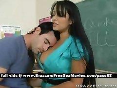 Big-boobed brunette schoolteacher at school going through an earthquake