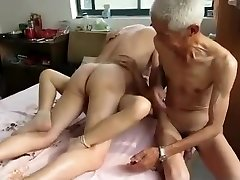 Amazing Homemade movie scene with Trio, Grannies scenes