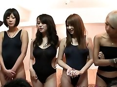 Japanese swimsuit sweethearts in orgy
