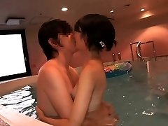 Supercute Japanese legal age teenager Ruri fucked in the indoor pool