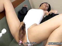 Huge twat Asian bitch gets toy drilled strongly