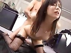 Japanese employee works her boss for a little after sex award