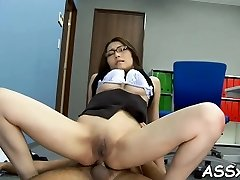Hot asian enjoys stimulating toying for her pussy and anal