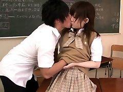 Miniature oriental schoolgirl banged in classroom
