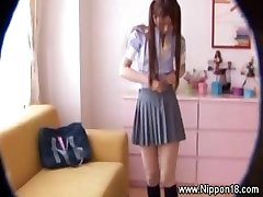 Asian schoolgirl gets hawt for favourable voyeur