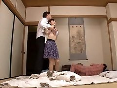 Housewife Yuu Kawakami Plowed Hard While Another Stud Watches