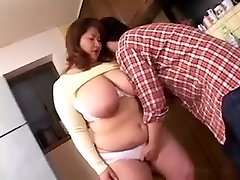 PLUMPER Japanese Mama Groped and Finger-banged In Kitchen