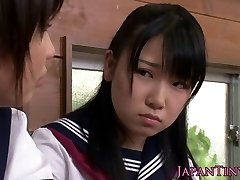 Tiny CFNM Japanese schoolgirl love sharing salami
