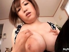 Busty asian slut gets her huge melons