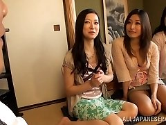 Busty Housewifes Team Up On One Man And Jerk Him Off