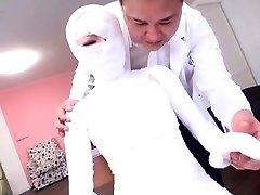 Subtitled bizarre Chinese damsel bandaged head to toe