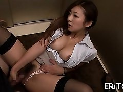Oriental gal gets her jaws filled with a huge dick