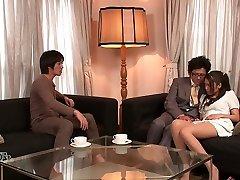 Lewd hubby and his friend unwrap kinky wife Aoi Miyama and pummel her well