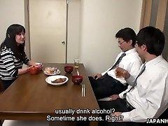 Too tired husband falls asleep while his colleague fucks his wifey Risa Kurokawa