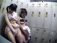 Two honeys share one prick in voyeur Japanese sex movie