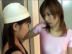 White and pinkish strap-on leotard asian lesbians