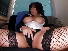 Horny Japanese model Neiro Suzuka in Exotic Stockings, Striptease JAV sequence