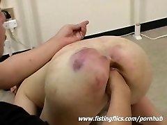 Ferociously fist fucked Asian slave