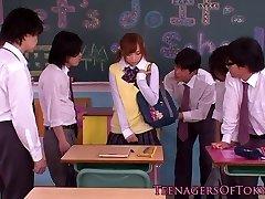 Japanese bukkake teen in class jerking jocks