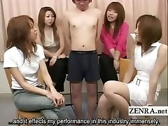 Subtitled Japanese CFNM tiny ramrod examination party