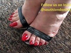 Long Toenails Footjob, Feet Humping, Handjob of Lady Lev