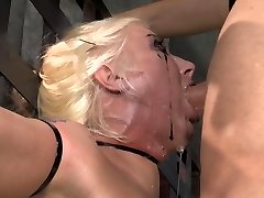 Slobber adorned face from BDSM face fuck