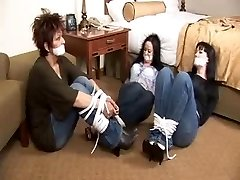 Mother Two daughters tape gagged