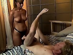 Hot mistress with strapon drilling slave ass