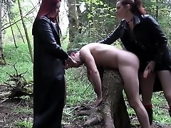 Goth femdoms pegging useless loser together