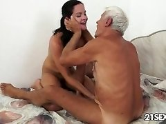Teenie cutie's naughty picnic with a grandpa