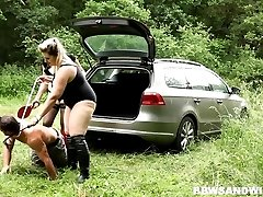 Anal male slave supremacy and facesitting outdoors