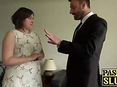 Chubby lady Laura Louise gets mouth fucked and rough lovemaking