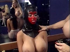 Dominatrix licks slave's cunt and puts anal beads