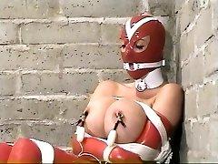 Summer Cummings - Red Latex, bondage, ring gag