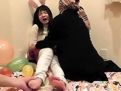 Asian teen girl's soles tickled part 1