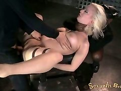White sir fucks strapped up busty blonde mish while she sucks BBC (MMF)