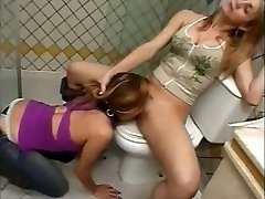 Slave licking puss in the restroom
