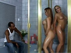 Sensual Caucasian whores Katja and Heidi going kinky in the bathtub teasing black dude